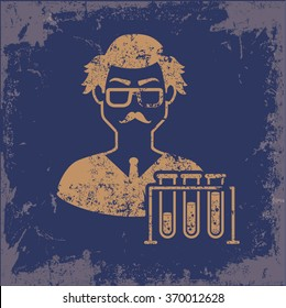 Scientist design on old paper background,vector