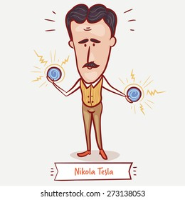 The scientist, electrical engineer, inventor Nikola Tesla  with the electric balls in his hands