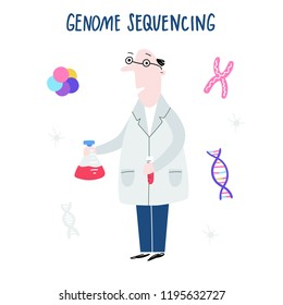 Scientist exploring DNA structure. Hand drawn genome sequencing concept made in vector. Human genome project.