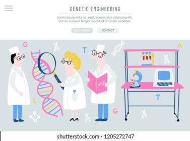 Scientist exploring DNA structure. Hand drawn genome sequencing concept made in vector. Human genome project. Banner for site.