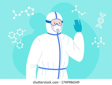 Scientist friendly men in protective suit and mask. Chemical lab research flat cartoon character. Discovery vaccine coronavirus antiviral. Isolated vector illustration
