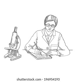 scientist, girl writes experiment, vector hand drawing