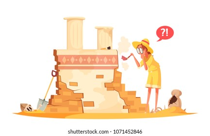 Scientist in hat with brush during archaeological works with ruin of ancient architecture cartoon vector illustration
