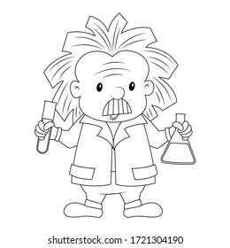 A scientist holding laboratory glassware vector illustration cartoon colorless for coloring page. Chemist holding test tube and conical flask. Old man scientist cute cartoon.