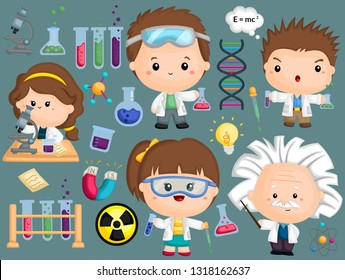 a scientist image set with many object