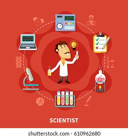 Scientist inventor in research laboratory, man in the circle of chemical icons, flat vector illustration