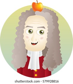 Scientist Isaac Newton Cute Cartoon Illustration. EPS10