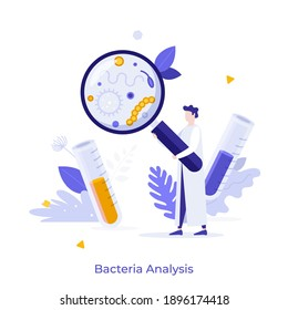 Scientist in lab coat looking at microscopic organisms through magnifying glass. Concept of bacteria analysis, microbiology research, bacteriology. Modern flat vector illustration for poster, banner.