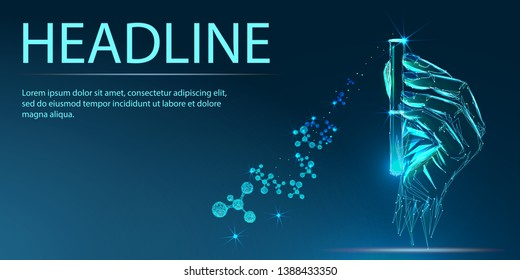 Scientist or laboratory test tube in hand, science research concept. Banner. Low poly vector illustration of a starry sky or Cosmos.