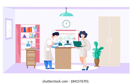 Scientist in the laboratory working on a cure for a virus. Girl working on laptop. Smiling girl stands with a laptop and writes the data of the experiment. Development of a vaccine against the disease