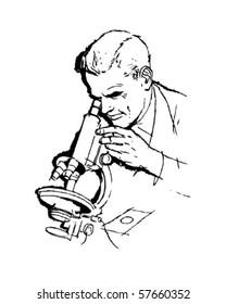 Scientist And Microscope - Retro Clip Art