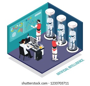 Scientist near computer during testing of robots droids in laboratory  isometric composition vector illustration