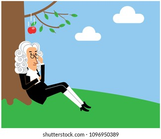 Scientist Newton sitting under the tree while the apple falling on to his head.
