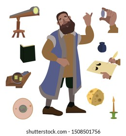 scientist, physicist, astronomer. Galileo Galilei with a telescope in a blue jacke. set. vector illustration