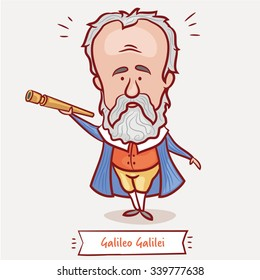The scientist, physicist, astronomer Galileo Galilei with a telescope  in a blue jacket