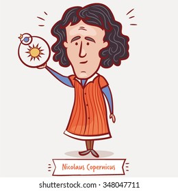 The scientist, physicist, astronomer Nicolaus Copernicus with a heliocentric model  in a red coat