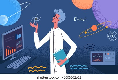 A scientist physicist conducts scientific research in the laboratory