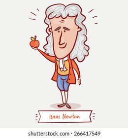 The scientist physicist Isaac Newton with an apple in a red jacket and a wig.