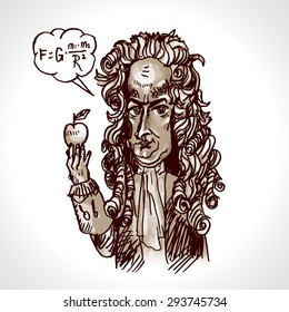 Scientist physicist Isaac Newton with an apple. Vector caricature. Digital engraving