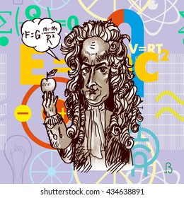 Scientist physicist Isaac Newton with an apple. Vector caricature. Digital engraving.  Background from formulas in style flat