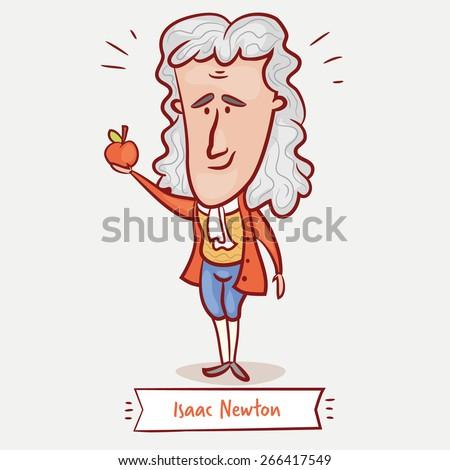 Scientist Physicist Isaac Newton Apple Red Stock Vektorgrafik