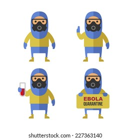 Scientist in Protective Yellow Gear. Cartoon Style Vector Illustration Set