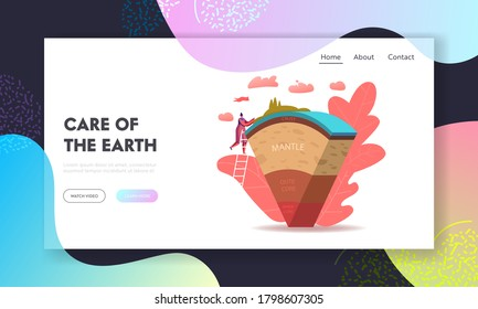 Scientist or Student Girl Learn Geophysics Science Landing Page Template. Tiny Female Character Study Earth Structure Divided In Layers Crust, Mantle, Outer and Inner Core. Cartoon Vector Illustration