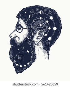 Scientist tattoo. Symbol of dreamer, creator, philosopher. Double exposure style art, portrait of hippie fashionable man t-shirt design
