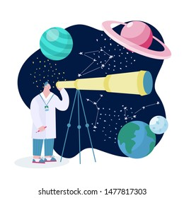 Scientist with telescope learing outer space with stars, moon, asteroids, constellation on background. Researcher exploring universe and galaxy. Cartoon man studing earth, saturn, moon and pluto.