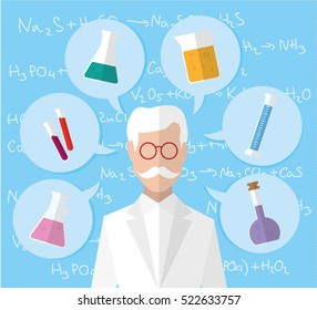 Scientist thinking about his work. Flat vectors