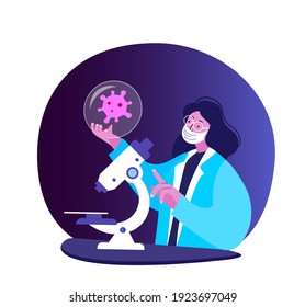 Scientist Virologist Researcher Explore Coronavirus Elemet Corpuscle with Microscope. Chemist in Medical Protective Mask. Doctor Biologist Expert. Medicinall Laboratory Examination.Vector Illustration