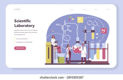 Scientist web banner or landing page. Idea of education and innovation. Biology, chemistry, medicine and other subjects systematic study. Isolated flat illustration