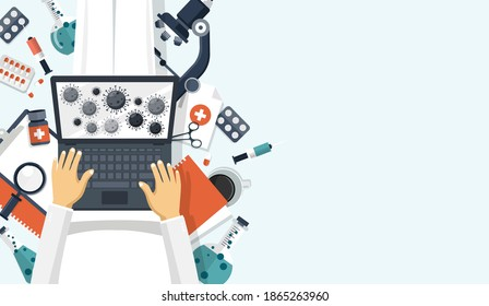 Scientist in white suit sitting on the floor and holding lap top with virus molecules on the screen. Scientist trying to find a cure concept. Flat vector illustration