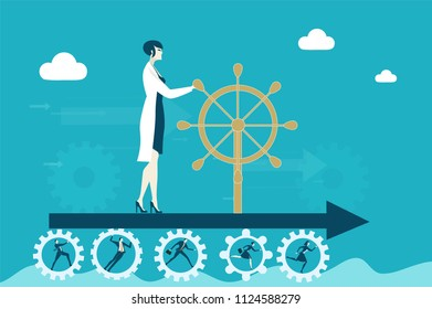 Scientist woman holding the leading position and bringing her team to the success. Leading and winning concept illustration.