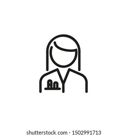 Scientist woman line icon. Female chemist in white coat with test tubes in pocket. Scientists concept. Vector illustration can be used for topics like chemistry research lab