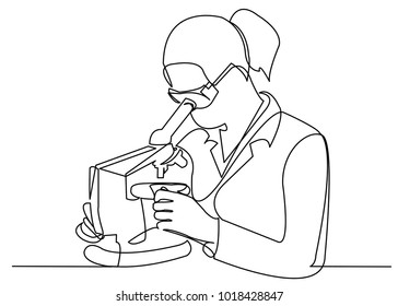 Scientist woman looking through microscope in laboratory. Continuous line drawing. Vector illustration on white background