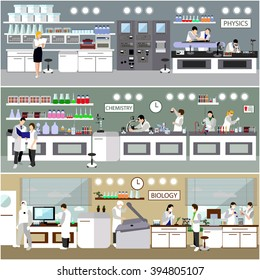 Scientist working in laboratory vector illustration. Science lab interior. Biology, Physics and Chemistry education concept. Male and female engineers making research and experiments.