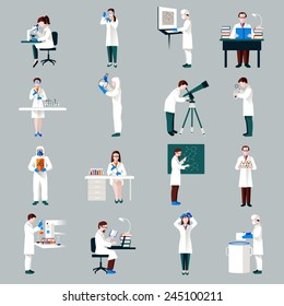 Scientists characters set with male and female people in laboratory isolated vector illustration