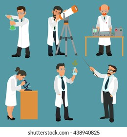 Scientists characters set with male and female people in laboratory. vector.