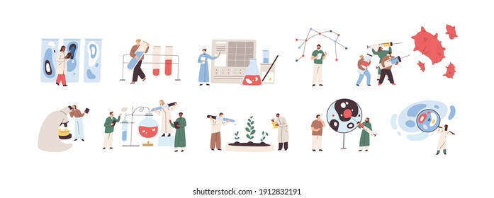 Scientists conducting scientific researches, analyses and tests of vaccines. Developments and discoveries in medical science concept. Graphic flat vector illustration isolated on white background