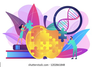 Scientists doing apple jigsaw puzzle. Genetically modified organism and engineered organism, molecular engineering concept on white background. Bright vibrant violet vector isolated illustration