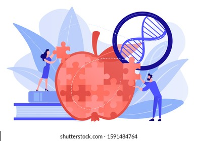 Scientists doing apple jigsaw puzzle. Genetically modified organism and engineered organism, molecular engineering concept on white background. Pinkish coral bluevector isolated illustration