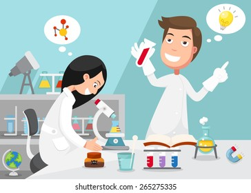 Scientists doing experiment surrounded by lab equipment .illustration, vector