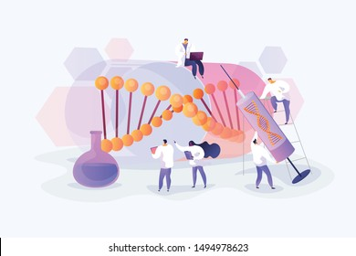 Scientists doing lab research. Disease treatment and prevention. Medical experimental technique. Gene therapy, gene transfer, functioning gene concept. Vector isolated concept creative illustration