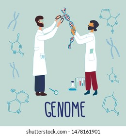 Scientists editing DNA structure, they surrounded by chromosomes, nucleotides, test tubes, loupe. Genetic engineering and genome or gene sequencing concept. Colorful doodle vector illustration.