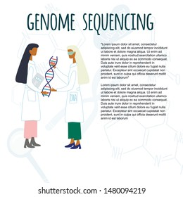 Scientists exploring DNA structure. Background with chromosomes, nucleotides, loupe. Genetic engineering and genome sequencing concept for article. Colorful doodle vector illustration.