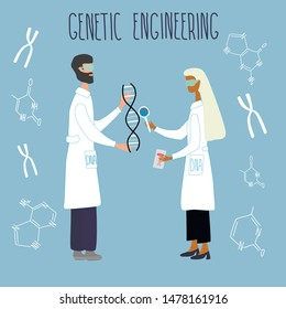 Scientists exploring DNA structure, the surrounded by chromosomes, nucleotides, test tubes, loupe. Genetic engineering and genome or gene sequencing concept. Colorful doodle vector illustration.