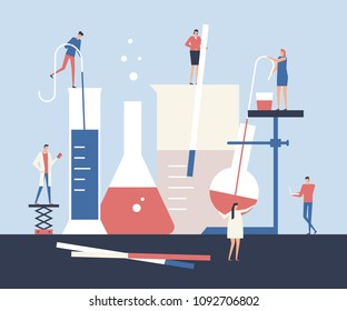 Scientists - flat design style illustration. High quality composition with big chemical flasks and litmus papers. Work in the laboratory, scientific experiment
