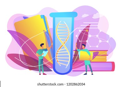 Scientists with folder and clipboard working with huge DNA in test tube. Genetic testing, DNA testing, genetic diagnosis concept on white background. Bright vibrant violet vector isolated illustration