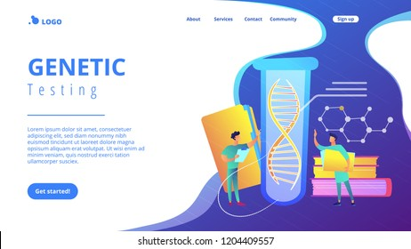 Scientists with folder and clipboard working with huge DNA in test tube. Genetic testing, DNA testing, genetic diagnosis concept on white background. Website vibrant violet landing web page template.